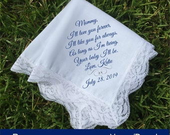 Mother of the bride Gift, Mother of the groom gift, Personalized handkerchief, PRINTED lace handkerchief, wedding keepsake gift idea (H 028)