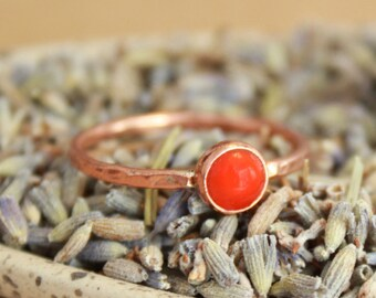 Copper Stacking Ring with Rose Cut Carnelian - Autumn Colors Copper Ring - Rustic Elegance Gemstone Ring - Boho Stack Ring - Copper Jewelry