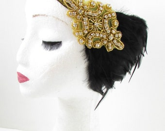 Black Gold Silver Feather Headband Great Gatsby Flapper Girl Headpiece 1920s Y51