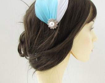 Light Blue White Silver Feather Hair Comb Fascinator Bridal 1920s Vintage 127