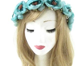 Turquoise Blue Rose Flower Headband Hair Crown Wreath Garland Boho Festival 778
