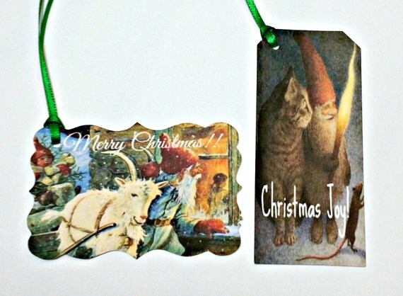 Christmas Gift Tags - Vintage Gnomes, Christmas Gnomes Gift Tags,Thank You Tags,Christmas Gift Tags,Christmas Wrapping,Holiday Gift Tags