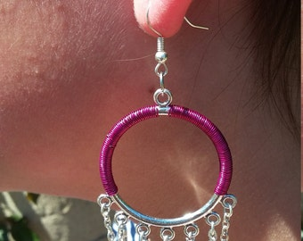 Hot Pink Wire-wrapped Hoops with chain dangle