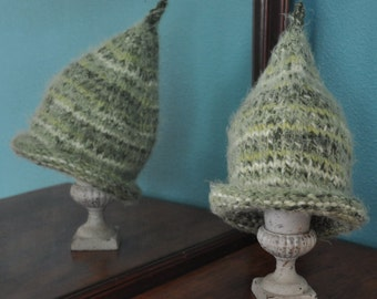 Toddler Child Hat, Hand Knitted Green Pixie Hat, fits 12 months to 3yrs Elf Gnome Hat, Birthday, Christmas Gift Idea under 20 dollar.