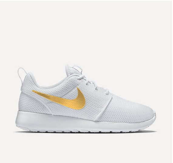 Nike Roshe Run Triple White Gold Swoosh Women's by ...