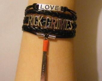 Rick Grimes bracelet, Rick Grimes jewelry, Walking Dead bracelet, Walking Dead jewelry, fashion bracelet, fashion jewelry, leather bracelet