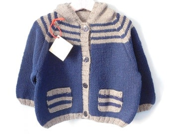 Blue and grey hooded Cardigan for baby 24/36 months