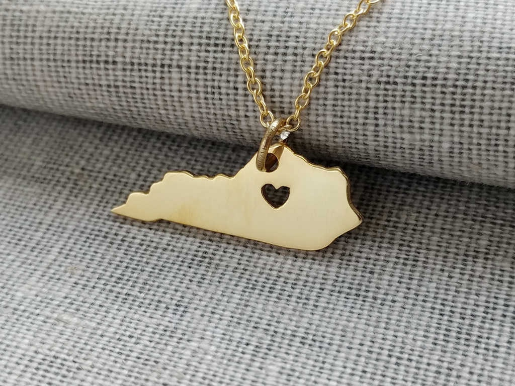 kentucky state necklace with a goldky state shaped