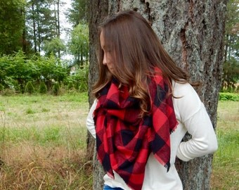 Buffalo Plaid Blanket Scarf, Tartan Plaid Blanket Scarf, Wrap Scarf, Red and Black Buffalo Plaid Fringe Scarf Shawl