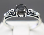 0.74cts Very Rare Natural Dark Galaxy Gray Color Diamond Ring, Fully Graded and Apprasied!