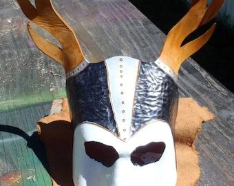 Leather Horned Skeleton King Mask