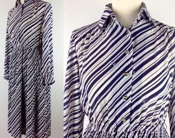 Vintage 90s Blue White Stripy Shirt Dress, Long Sleeved Dress, Races, Wedding, Summer Dress, Pleated Size 10 12 Medium
