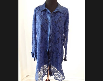 Victoria's Secret Vintage Gold Label Long Blue Lace Sleepshirt Sz Small Sheer Lingerie