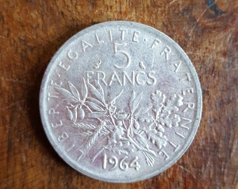 5 French Francs Silver Coin 1964