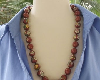 Antique, Cloisonne Beads ,Necklace, Copper wire, Flowers, Clouds