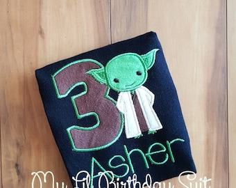 Yoda Star Wars Birthday Shirt - Any Age (Age can be Added) Personalized