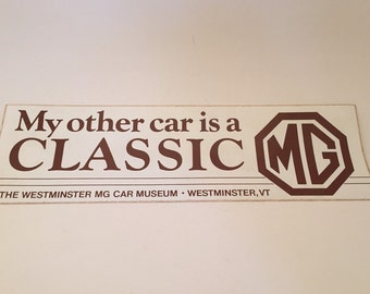 Vintage MG British Automobile Bumper Sticker