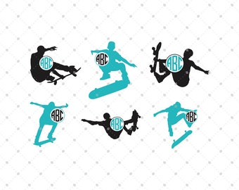 Skateboarding Monogram Frames SVG EPS DXF Cut Files Cricut Silhouette Studio Vinyl Cutters Vector Graphic