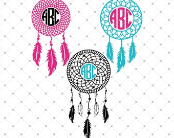 Dream Catcher Monogram Frame SVG Cut Files, Dream Catcher SVG Cut Files for Cricut, Silhouette and other Vinyl Cutters, svg files