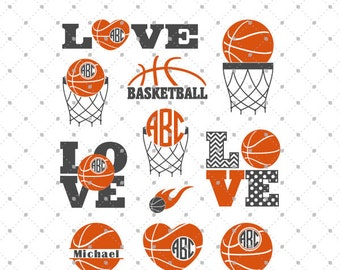 Basketball SVG Cut Files, Basketball Love SVG, Basketball Ball SVG, Basketball Monogram svg cut files for Cricut and Silhouette, svg files