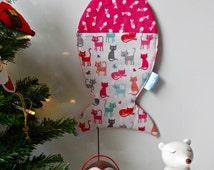 Cat Christmas Stocking, Pet Stocking, Fish Shaped Stocking, Santa Paws, Cat Gift, Kitten Stocking. Animal Christmas, Quilted stocking.