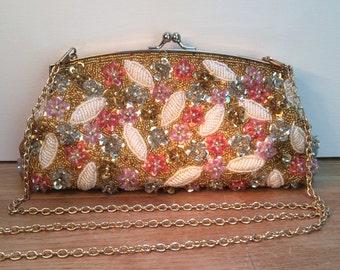 Evening Bag, Gold Beaded Purse, Vintage Beaded Bag, Multi Beaded Handbag, Hipster Purse, Style No. 1610