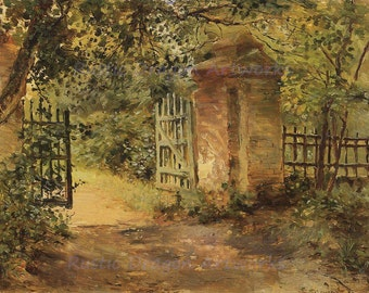 "Konstantin Somov ""The Road to Sekerin"" 1893  Reproduction Digital Print Road Gate Foliage Countryside Landscape"