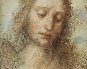 "Leonardo da Vinci ""Head of Christ"" 1495 Reproduction Digital Print Jesus Christ Christianity Religion"