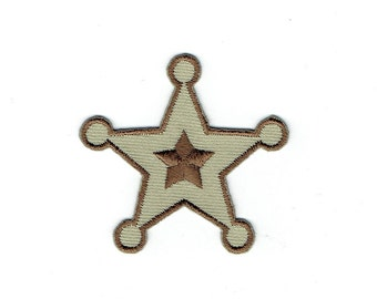 Sheriff Star - Five-Point - Brown - Western - Iron on Applique - Embroidered Patch - 696937-A