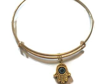 Hamsa Hand Charm Bracelet - Hamsa Hand Charm Bangle - Gold Adjustable Bangle Bracelet - Hamsa Hand Jewelry - Stacking Bangles