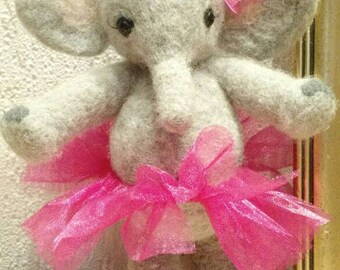 Ellie the ballet dancing elephant (needle felted puppet) OOAK