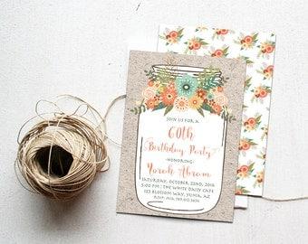 60th Birthday Invitation, Rustic Mason Jar Bday Invite Printable, Vintage Country Grandma Milestone Celebration 40th, 50th, 70th, 75th, 80th