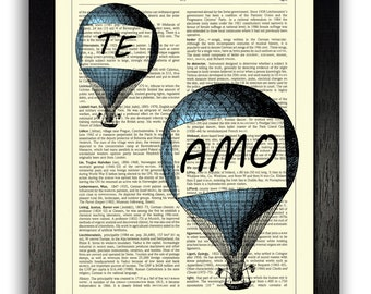 Te Amo Blue Hot Air Balloons, I Love You Art Print, Anniversary Gift, Wedding Present, Boyfriend Gifts, Blue Home Decor Poster