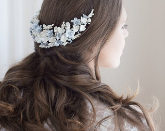 SAMPLE SALE. Blossoms headpiece. Bridal headpiece. Bridal floral headpiece. Wedding headpiece. Boho floral headpiece. Style 560
