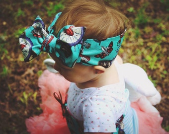 Steampunk Baby Head Wrap, Turquoise Steampunk Headwrap for Babies, Steampunk Toddler Headwrap, Steampunk Baby Headband, Steampunk Baby Bow