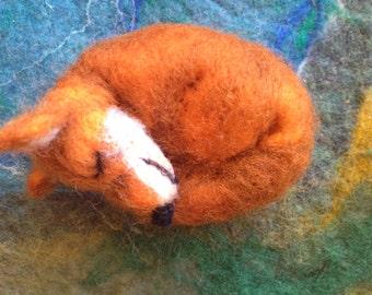 Sleepy felted fox