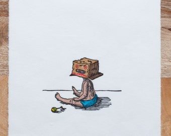 Limited Edition, Kids In Masks, Woodcut, Box Head Baby, Printmaking, Woodblock Print, Handmade