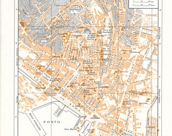1959 Cagliari Sardinia Italy Antique Map