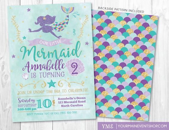 Mermaid Invitation • Mermaid Birthday Invite • Under The Sea Party • Teal Purple Gold • Summer Pool Beach Party Invitation Printable