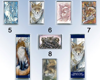 Fox fridge magnet collection - all images from original artwork by D Y Hide