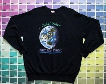 Vintage Greenpeace sweatshirt women XL XXL | 1990s Greenpeace USA pulllover men L | Save the Planet shirts 90s | environmental sweatshirts