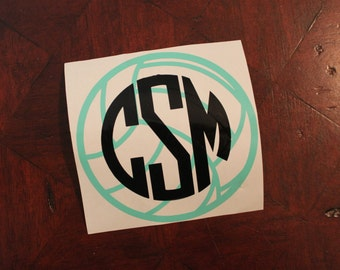 Volleyball Monogram Decal - Car Decal - Vinyl Monogram Decal