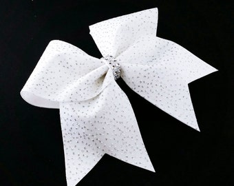 Glitter cheer bow, white cheer bow, cheer bows, cheerleading bow, cheerleader bow, cheer camp bow, cheer tryouts bow, cheer bow, white bow