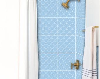 Tile Decals - Tiles for Kitchen/Bathroom Back splash - Floor decals - Scallop Tile Sticker Pack Peri Blue