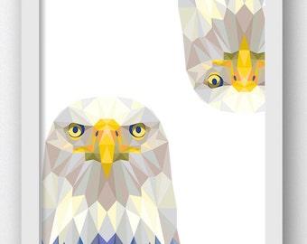 Bald Eagle Polygon Prints, Digital  Prints, American Eagle Decor Eagle Wall, Eagle Home Decor Art Digital Prints,Digital Download Print,