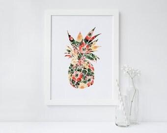 PRINTABLE Art Tropical Pineapple Floral Pineapple Summer Art Print Summer Wall Art Home Decor Apartment Decor Pineapple Art Print
