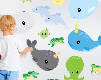Sealife Wall Decal Kit - Narwhal & Whale Wall Decal by Chromantics