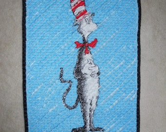 Faux Chenille Cat in Hat Blanket