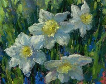 Daffodils pastel painting, Original art, Spring floral decor, Spring flower painting, Floral art, Unframed painting, White daffodils art