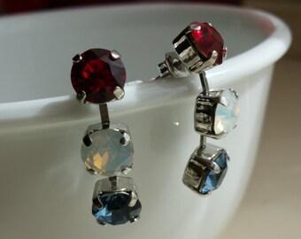 Customizable 3-stone Drop Earrings